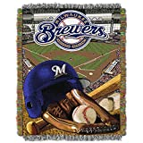 NORTHWEST MLB Milwaukee Brewers Woven Tapestry Throw Blanket, 48' x 60', Home Field Advantage
