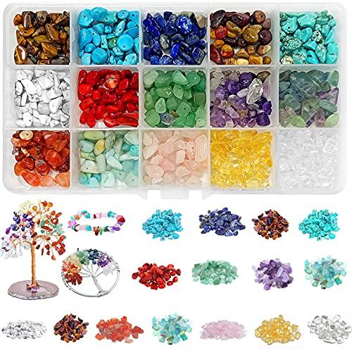 15 Colores Cuentas de Piedras Preciosas,Piedra para Hacer joyería,Caja de cuentas de...