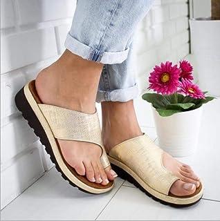 ZUOX Couples Chaussures de Plage décontractées,Sandales antidérapantes surdimensionnées, Pantoufles à Bout épais-Golden_3...
