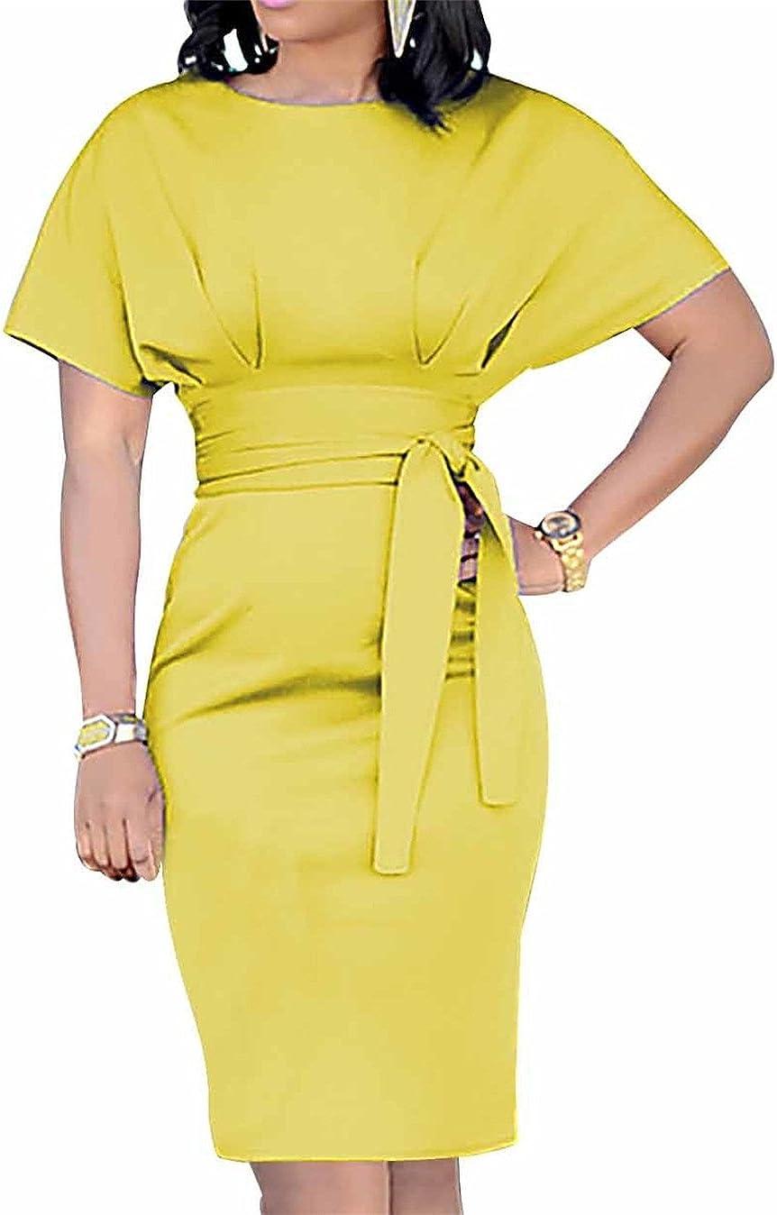 Molisry Womens Wrap Long Sleeve Slim Fit Bodycon Club Midi Dress