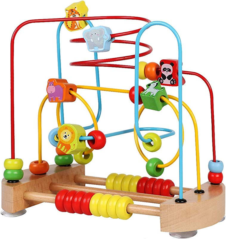 ToyerBee Bead Maze Wooden Toys With Animals Graphics Educational Abacus Beads Circle Toys Colorful Roller Coaster Game Gift For Children Toddlers Kids Boys Girls