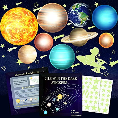 Glow in The Dark Stars and Planets, Bright Solar System Wall Stickers -9 Glowing Ceiling Decals for...