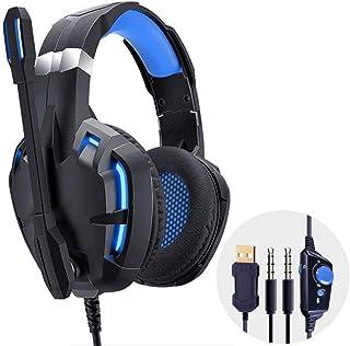 سماعات رأس PC للألعاب 7.1 سماعات رأس محيطية سماعات باس ستيريو بخاصية الغاء الضوضاء متوافقة مع أجهزة الكمبيوتر المحمول PS4 ...