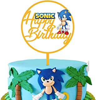 Acrylic Sonic Happy Birthday Cake Topper for Birthday Party Decoration