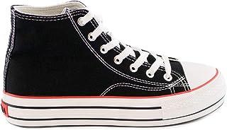 PAYMA - Scarpe da Ginnastica Sneakers di Tela Canvas Pero Donna. Casual a Collo Basso e Alto. Suola Semplice e Piattaform...