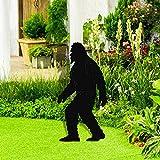 Jialili All-Weather Bigfoot Yard Display, Sasquatch Silhouette Stake, Whimsical Orangutan Bigfoot Yeti Sculpture, Yard Sign and Outdoor Lawn Decorations (Black)
