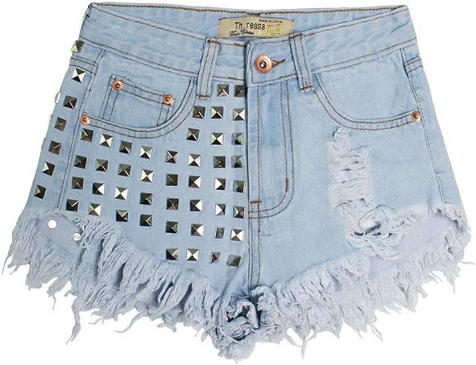 YJiaJu New Hole Rivet Irregular Sexy Shorts Hot Young Girl Women Mustard Denim High Waist Pants Shorts Hot Pants (Color : Light Blue, Size : S)