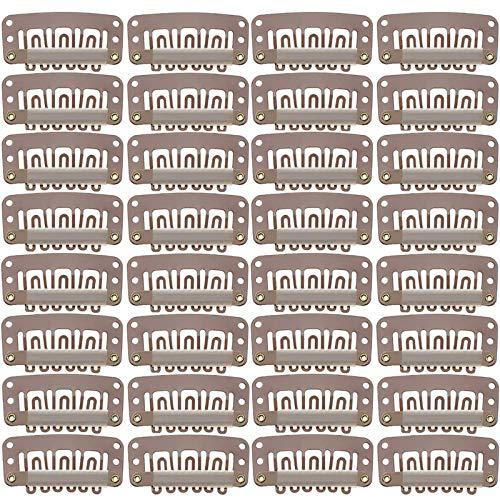 Metall Perücken Clips Clip In Extensions Echthaar DIY Perücken Clips Haar Verlängerungen Clips Perücke Clips für Haar Verlängerungen DIY Haarteil Schuss Dunkelbraun 100 Stück