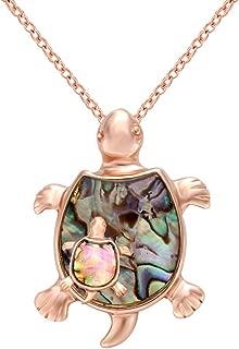 MANZHEN Fashion Retro Sea Turtle Tortoise Natural Abalone Shell Pendant Charming Necklace