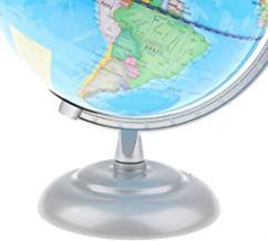 Baoblaze 360° Rotating 26CM Height Metal Base Political Earth Ocean World Map Globe on Stand with Light Table Decoration Kids Teaching Aid