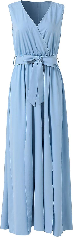 Women's Sleeveless V-Neck Wrap Casual Long Dress Cocktail Party Split Maxi Dress