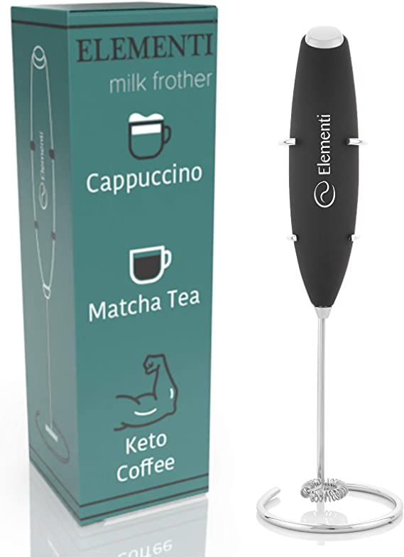 Elementi Milk Frother with Stainless Steel Whisk & Stand – Handheld Battery-Operated Drink Mixer