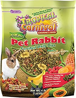 F.M. Brown's Tropical Carnival Natural Rabbit Food, 4-lb Bag - Vitamin-Nutrient Fortified Daily Diet with High Fiber Timothy Hay and Alfalfa Pellets for Optimum Digestion