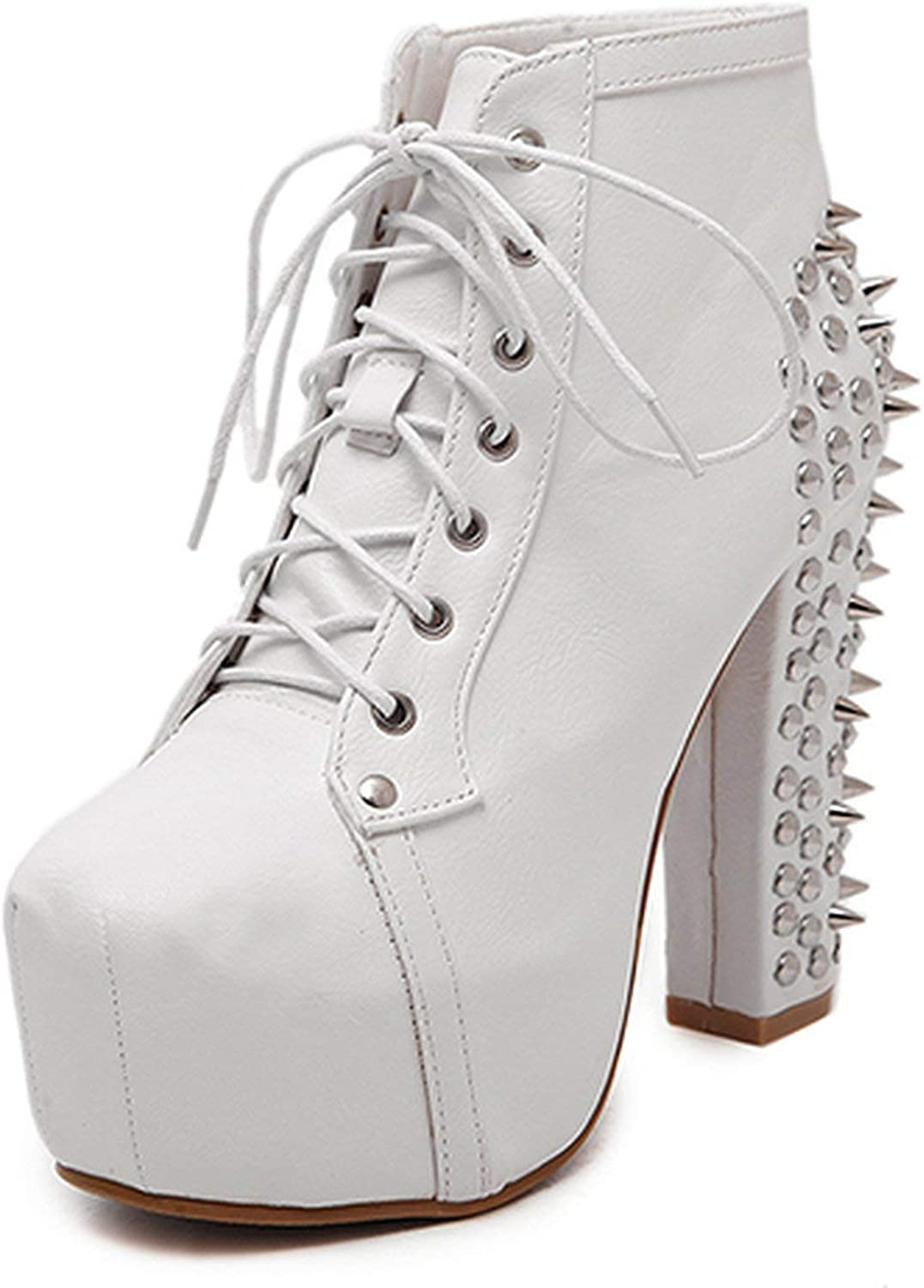 Summer-lavender Fashion Rivet Ankle Boots High Heels Women Spring Autumn Lacing Sexy shoes Motorcycle Boots