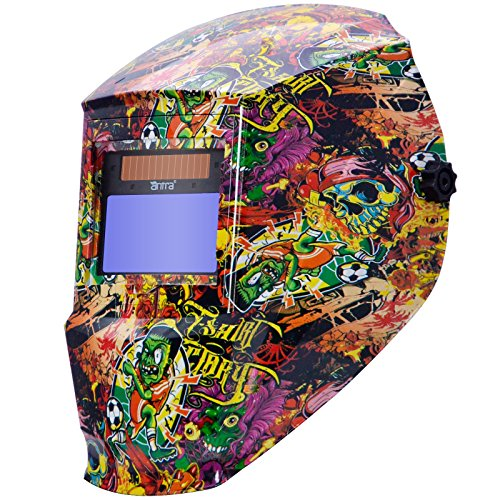 Antra AH6-330-6325 Digital Controlled Solar Power Auto Darkening Welding Helmet with AntFi X30 Shade 5-8/9-13 with Grinding Feature Extra Lens Covers Good for TIG MIG MMA Plasma