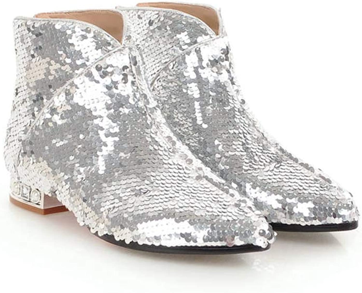 T-JULY Women Sequined Cloth Ankle Boots Fashion Pointed Toe Square Heels shoes Woman Fashion Autumn Winter Boots