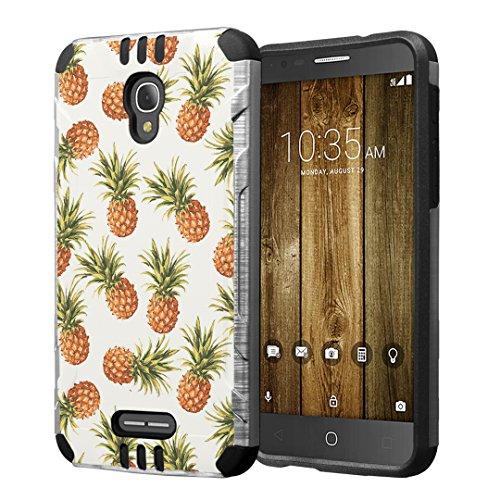 Alcatel Fierce 4 / Allura/Pop 4 Plus Case, Hybrid Dual Layer Silm Defender Armor Case (Silver & Black) Brushed Finishing for Alcatel Fierce 4 / Allura/Pop 4 Plus - (Pineapple)
