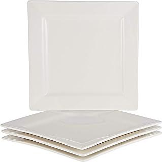 Symphony Square Plate - Set of 4, 19 cm,White