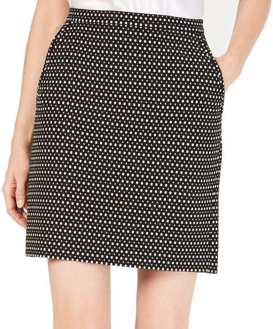 Anne Klein Womens Black Geometric Mini A-Line Wear to Work Skirt Size 12