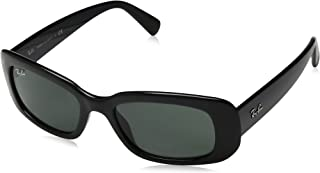 RAY-BAN RB4122 Rectangular Sunglasses, Black/Green, 50 mm