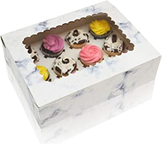 Cupcake Boxes With Window Display & Cup Cake Inserts For Cupcakes, Glossy Marble Design, Thick Sturdy Cupcake Box, 12 Boxes Total