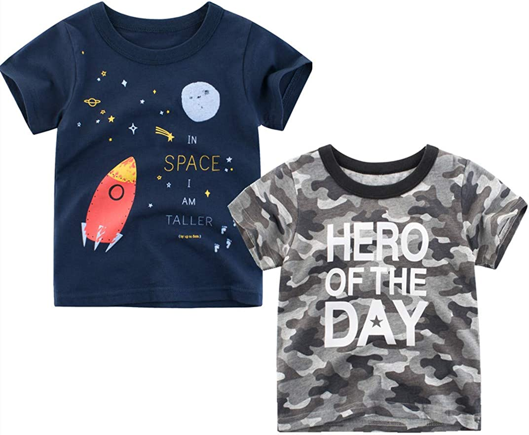 Sampheya New product! New type Baby Boys' 2-Pack Summer Sleeve Tee Short T- High material Kids