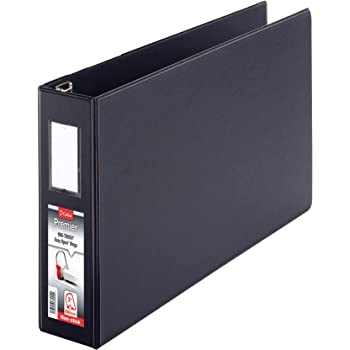 """Cardinal Premier 11 x 17 3-Ring Binder, 3"""" Locking Slant-D Rings, Heavy-Duty Covers, 650-Sheet Capacity, Black with Spine Label (12142V4)"""