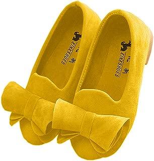 Vokamara Faux Suede Bow Round Toe Ballet Flats Slip On Shoes (Little Kid/Big Kid)