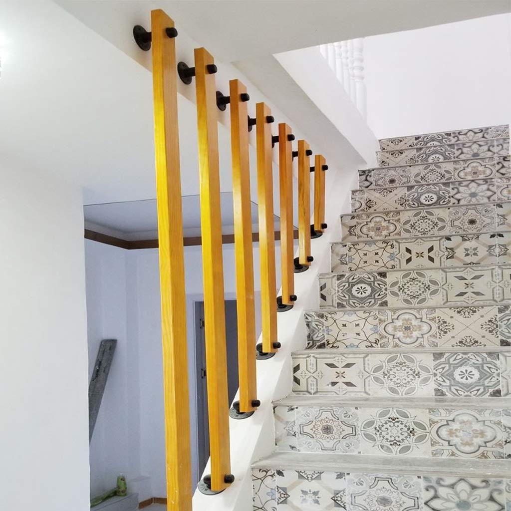Balaustres de escalera de madera con base de hierro, rieles de seguridad Barandilla de escalera, piezas del kit de escalera, protector de escalera, riel seguro para balcón, lo suficiente para instalar: Amazon.es: