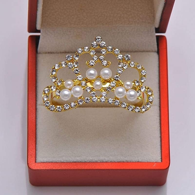 20pcs Lot Crown Rhinestone Pearl Rings For Wedding Table Decoration Gold Plating