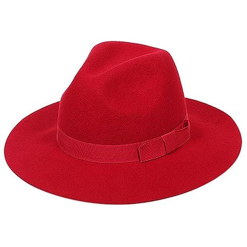Aniwon Fedora Women Woolen Bowler Hat Wide Brim Floppy Cloche Church Derby  Cap 1dc84a737629
