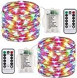 CHOUREN 2 paquete de LED Luz de Navidad con pilas de la cadena luces impermeables 8 Modos de 100 LED 33 pies de hadas Luces de la secuencia con las luces a distancia y temporizador Firefly Luces Decor