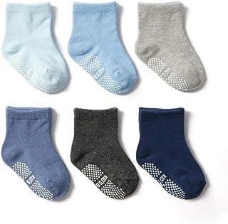 Jinyu, 6 pares de calcetines de algodón para bebé de 0 a 5 años antideslizantes para niños y niñas, de corte bajo con agarres de goma para cuatro estaciones