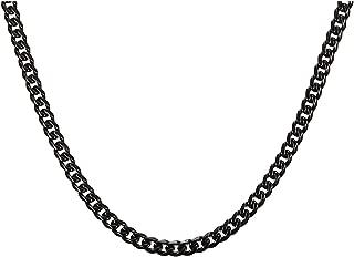 Xusamss Hip Hop Black Titanium Steel Chain Necklace,Width 5MM