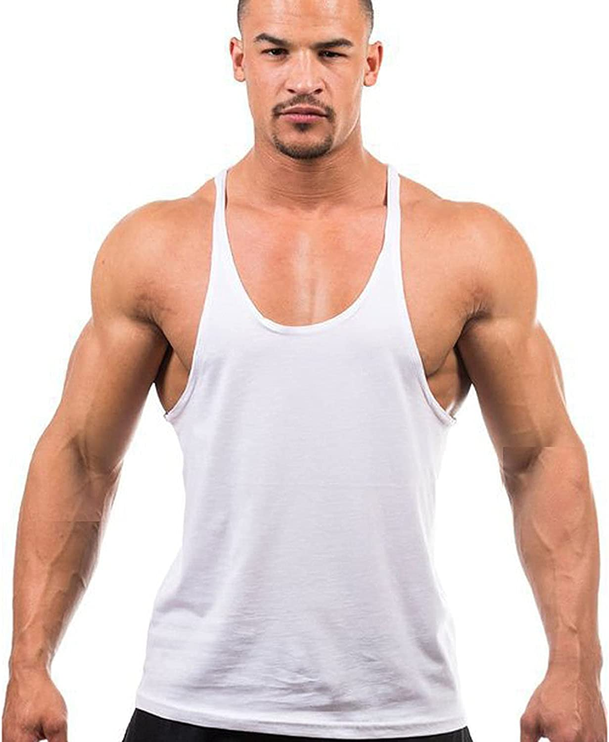 Mens Workout Stringer Tank Tops Training Chest Undershirt Bodybuilding Fitness Gym Muscle Cotton Vest Sleeveless