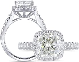 DovEggs Platinum Plated Silver 2ct Center 7.5mm I Color Yellow Tinted Cushion Cut Moissanite Engagement Ring Solitare with Accents 2.3mm Band Width