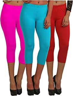 Fablab Casual Capri for Girls_Women_Ladies_ Solid Color_Above Knee Length Capri_CLS_190-3-17PSbR,PinkSkyblueRed,Free Size Combo Pack of 3.