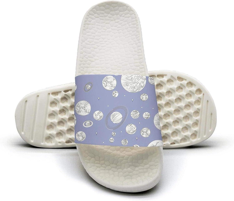 Women Girls Black White Planets of The Solar System Slip on Beach Sandals and Anti-Slip Shower Slipper Comfort Sandals