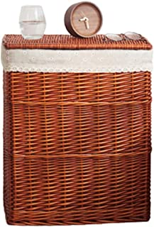 Paniers à linge Boîtes de conservation Organisateur rotin Conteneurs Paniers avec couvercles, grands vêtements de capacité...
