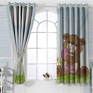 FreeKite Kids Blackout Curtains for Bedroom Cartoon Style Cute Teddy Bear with Toy in Meadow Swirled Flowers Butterfly and Cloud Thermal Insulated Soundproof Curtain W72 x L84 Inch Multicolor