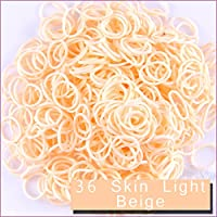 Loom Bands ルーム レインボー ゴムバンド ブレスレット リフィル 600 本 クリップ 24 個 Kirinstores® (36 Skin Light Beige)