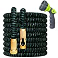 """360Gadget Expandable and Flexible Garden Hose 25 ft Water Hose with 3/4"""" Brass Fittings and 8 Function Sprayer Nozzle, Retractable, Kink Free, Collapsible, Lightweight Hose for Outdoors"""