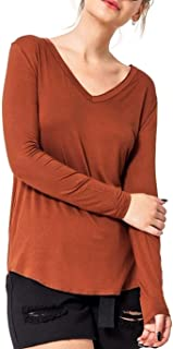 Mirabell Women's Long Sleeve V Neck Loose Casual Curved Hem Tee T-Shirt Tops