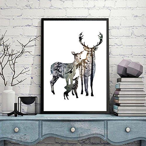 A Design Direct Silhouette Vintage Nordique de tête de cerf Affiches Noir Blanc Animaux Art Prints Tableau Mural Toile Peinture Décoration d'intérieur sans Cadre (L(40X50CM) Pas de Cadre, E)