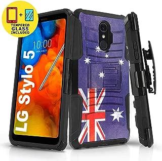 TalkingCase Black Dual Layer Phone Case for LG Stylo 5,5v,Oldflag Australia Print,Kickstand,Belt Clip Holster,Tempered Glass Protector Included,Designed in USA