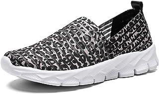 Chaussures de Marche Femmes Slip on Creuses Loafers de Course Basket Mailles Mocassin Casual Respirante Légères été Noir B...