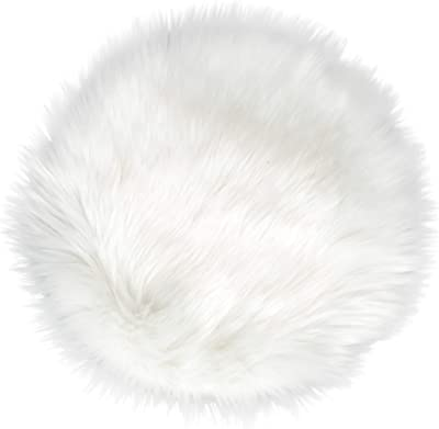 IVON White Round Faux Fur Rug, Fluffy Rug Cushion for Chair, Background for Nail Desk Photos - 15.5 inches