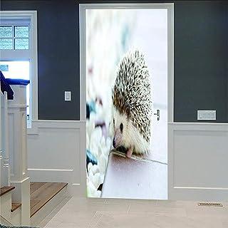 LOVEJJ Stickers de Porte 3D Hérisson animal Déco Murale Qualité HD PVC Douche Bureau Salon Décoration Couloir Peinture Mur...