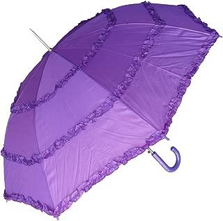 Women's Open Parasol Umbrella with Three Ruffles