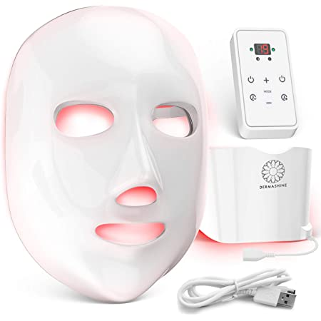 Dermashine Pro 7 Color Wireless LED Mask For Face and Neck | Photon Red Light For Healthy Skin Rejuvenation Therapy | Collagen, Anti Aging, Wrinkles | Korean Skin Care, Facial Skin Care Mask